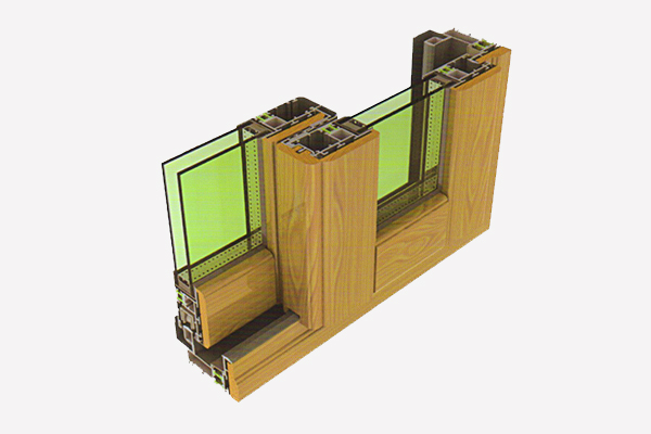 MT80 aluminum-wood sliding window